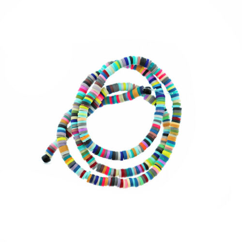 Rainbow Colors Polymer Clay Beads 4mm x 1mm 1 Strand 400 Beads BD1323