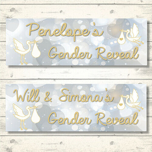 Message S 2 Personalised Stork Gender Reveal Banners Any Name 800 X 297mm Banners Bunting Garlands Greeting Cards Party Supply