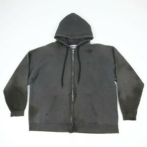 Destroyed-Vtg-Hanes-Faded-Black-Hooded-Sweatshirt-Jacket-Grunge-Skate-Goth-XL