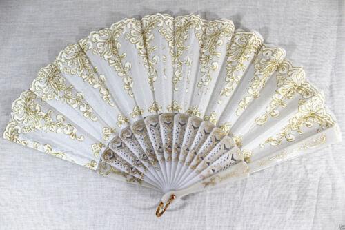 Spanish Style White Dance Wedding Party Lace Silk Folding Hand Held Flower Fan