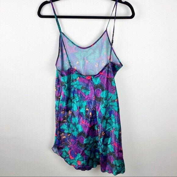 Vintage Floral Slip dress 80s 90s EUC Neon Floral… - image 5