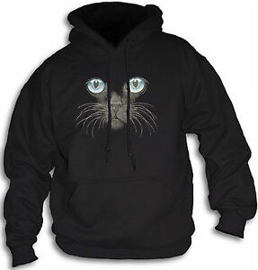 Cat-Face-Blue-Eyes-Women-039-s-Girls-Hoody-Sm-2XL-Hooded-Top-Animal-Feline