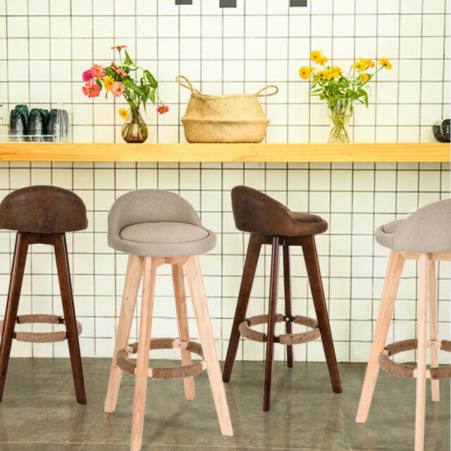 Counter Height Bar Stool High Chair Seat Wooden Top Wood Kitchen Island Set  of 4