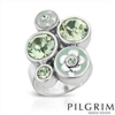 PILGRIM SKANDERBORG Ring With  Crystals and Bluish green two tone Enamel Sz 6.5