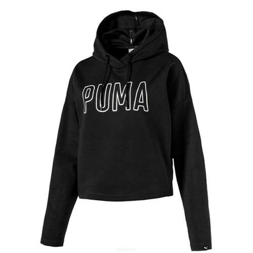 Puma Fusion Ausschnitt Kapuzenpulli Damen Pullover Schwarz 850112 01 R24H