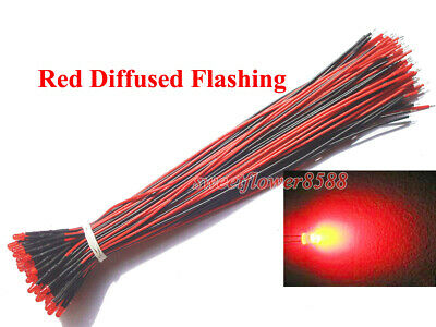 100x 5mm Red Diffused LEDs Pre Wired 12v Light New