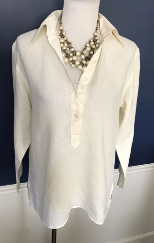 Zanella Top, Size 10, Linen Tunic, Ivory, Long Sle