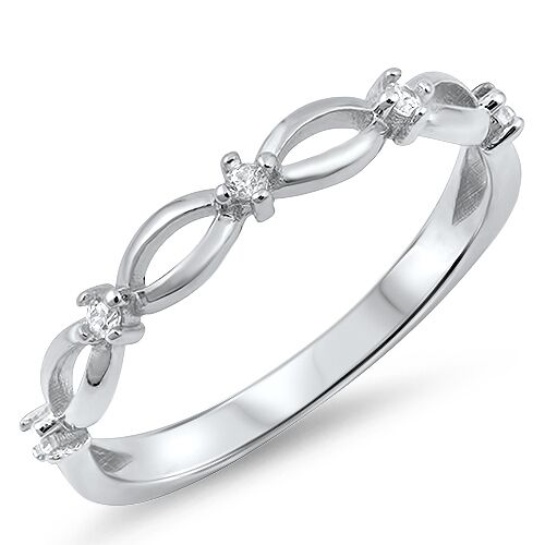 Sterling Silver 925 PRETTY SEMI MARQUISE CLEAR CZ DESIGN RING 3MM SIZES 3-10