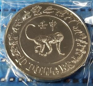 1992-Singapore-Mint-039-s-10-Lunar-Year-of-the-Monkey-Cupro-Nickel-Proof-Like-Coin