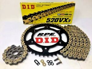 Gold 2000-2018 Suzuki DRZ400S O-Ring Chain and Sprocket Kit