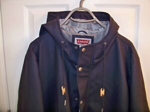 6f8cabf74bb Details about LEVI'S MEN'S RUBBERIZED RAIN PARKA JACKET WITH ATTACHED HOOD  SIZE (50)