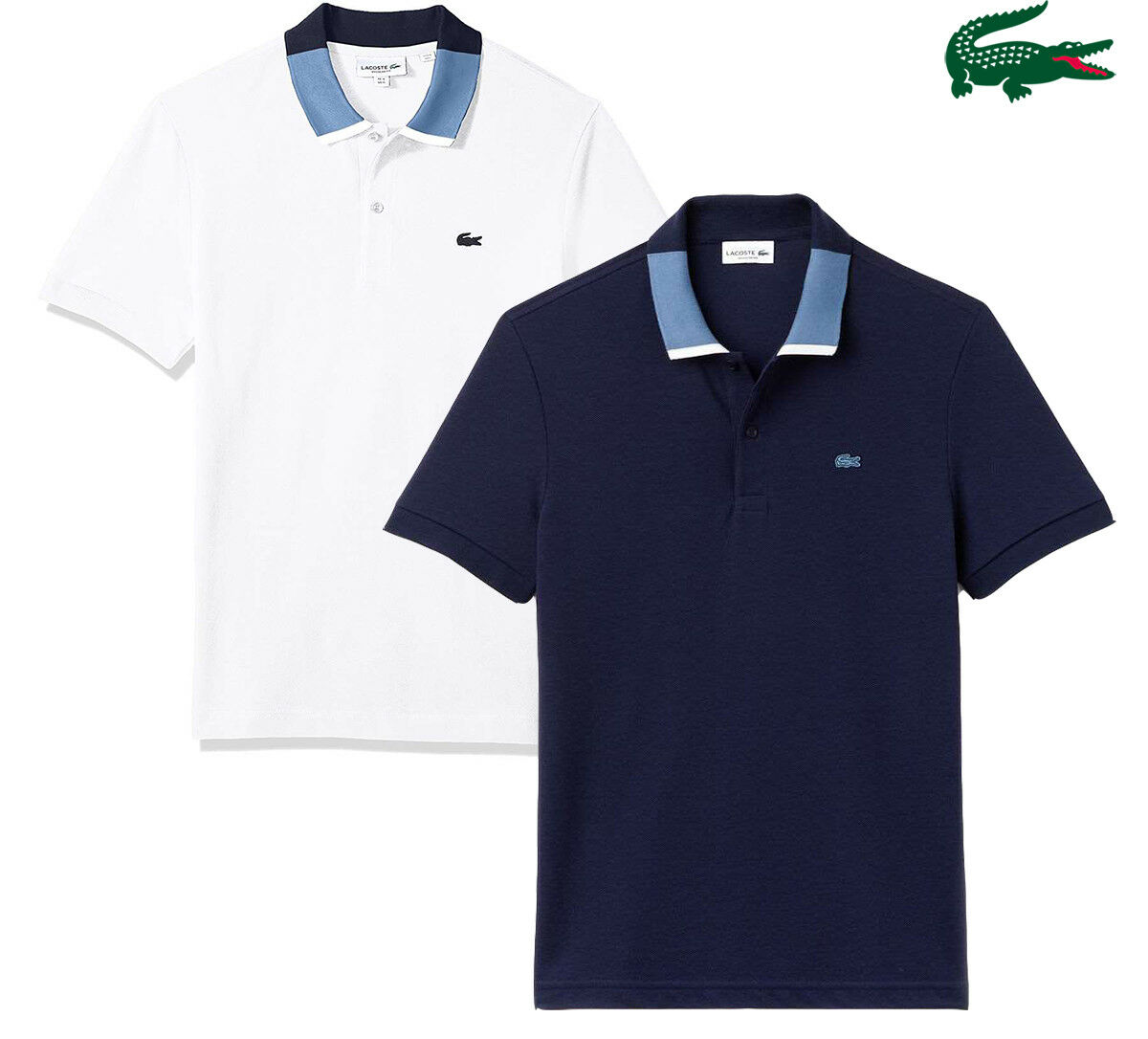 NEW Lacoste Men's Contrast Collar Pique Regular Fit Polo 2-Ply T-Shirt