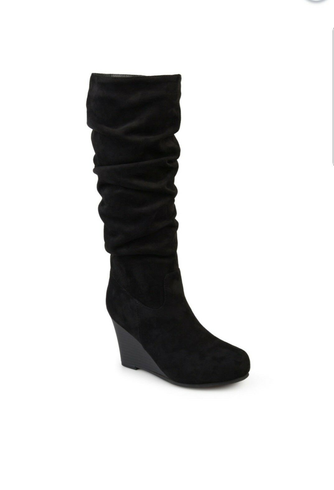 New Womens Journee Collection Slouch Boots Wedge Black 9 Faux Suede