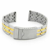 Strapsco Stainless Steel Two Tone Watch Band Silver Yellow Gold Strap Breitling