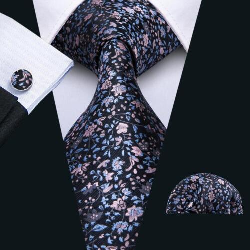 Mens Silk Tie Set  Woven Blue Floral Necktie Cufflinks and Pocket Square for Men