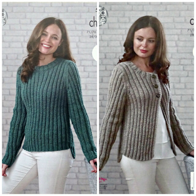 bb4c633a5 KNITTING PATTERN Ladies EASY KNIT Rib Jumper   Cardigan Chunky King Cole  5033