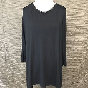 08c55d0294c Lane Bryant Tunic Top Chain Neckline 3/4 Sleeve Black NWT $49 Size ...