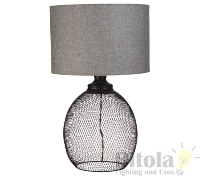 HUDSON TABLE LAMP BEDSIDE BLACK METAL BASE GREY ROUND SHADE INDUSTRIAL STYLE