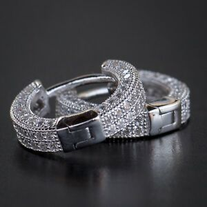 Details About Small White Gold 925 Sterling Silver Men S Lab Diamond Iced Cuff Hoop Earrings