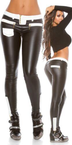 Pantalones aplicación Koucla de tela Leatherlook Damas Con A0xUqF