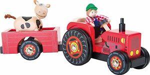 Fahrzeuge Traktor Trecker Holz mit Anhänger und Zubehör Bauernhof Farm Holzspielzeug