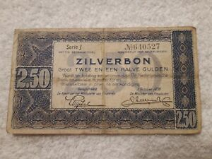Geldschein-Banknote-Niederlande-ZILVERBON-2-50-Serie-L-Oktober-1938