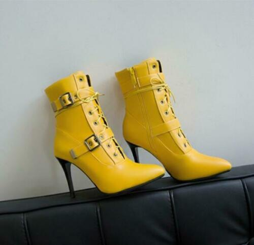 Details about  /Womens Trendy Pointy Toe Lace Up Buckle Strap Ankle Boots Slim High Heels Shoes