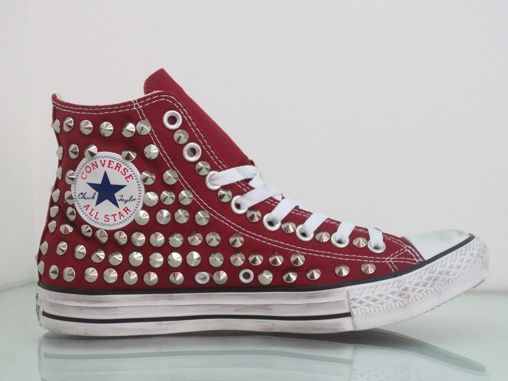 Converse all star  Hi borchie scarpe bordo' maroon  star grigio,nero,rosso artigianali b8b07a