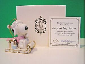 Lenox Peanuts Sledding with Snoopy and Woodstock Ornament NEW IN BOX