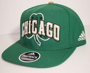 NEW-CHICAGO-BULLS-Green-Irish-Clover-Retro-Snapback-NBA-Hat-Cap-Adidas-Flat-Brim