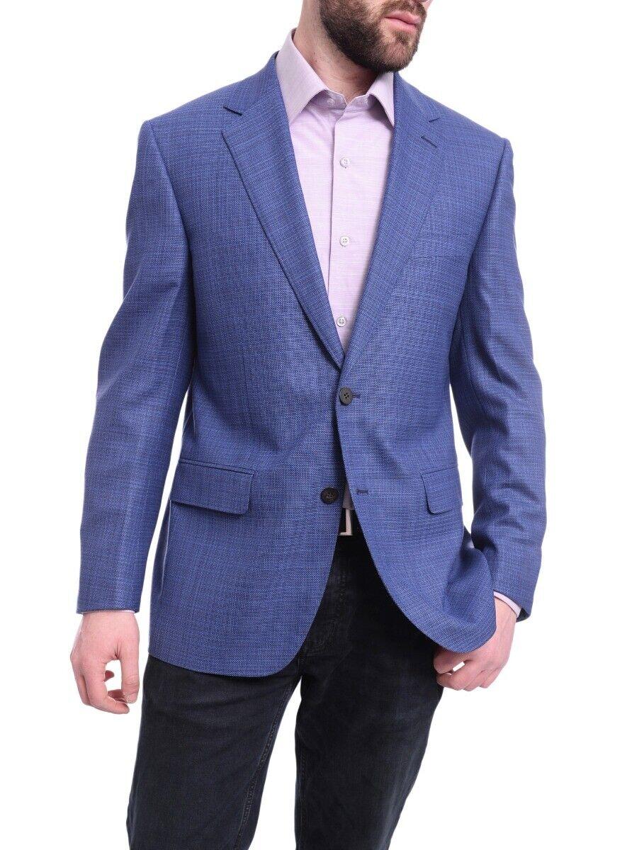Mens 43R Napoli Classic Fit Blau Stepweave Half Canvas Wool Blazer Coat-42R