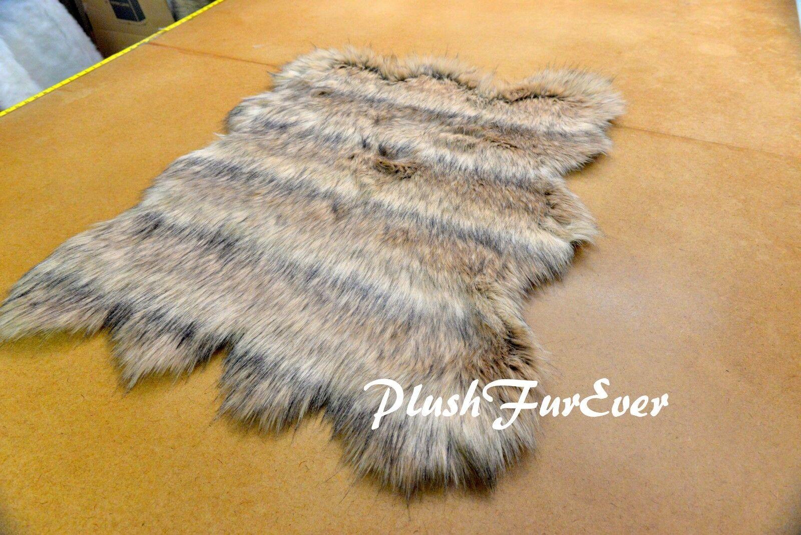 PlushFurEver Faux Fur Rug   Mountain Coyote Fur   Scallop Shape   Cabin 5' 6' 7'