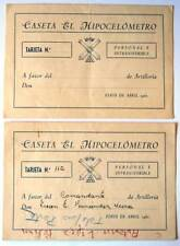 Lote de dos tarjetas para la Caseta El Hipocelómetro. Feria de Abril de 1961