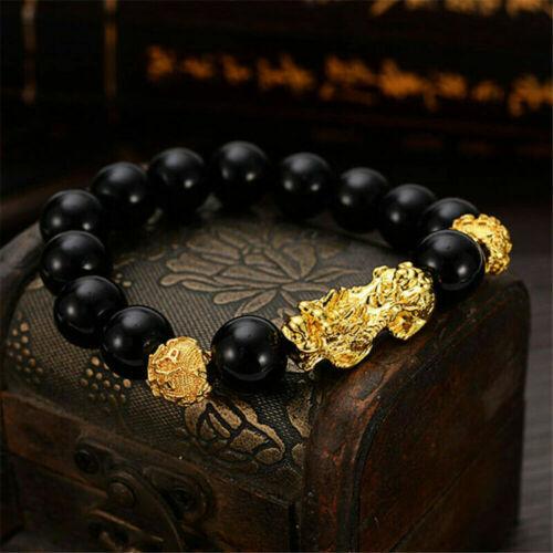 UK Feng Shui Black Obsidian Alloy Wealth Bracelet Golden Pixiu Charms Jewelry