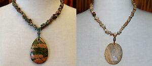 Picture-Jasper-and-Unakite-Statement-Necklace-Lot