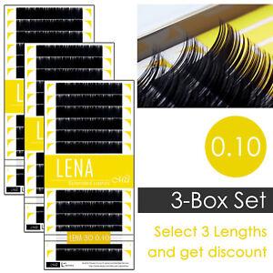 3-Box Set LENA Black Pearl 0.10 Individual Eyelash Extensions with Matte Finish