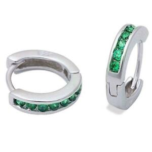 Emerald Huggie Hoop Channel Set Earrings in Solid Sterling Silver MAY BIRTHSTONE