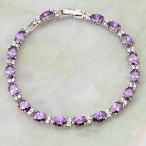 Bracelet en argent avec 12.55ctw blanc et violet Amethyst Pour Femmes