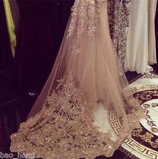 Sequins Champagne Bling Wedding Veils Chapel Length Bridal Veil Applique Comb
