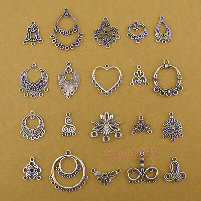 Tibetan Silver Charm Pendants Earring Connectors 20Styles-1 Or Mixed FB-6