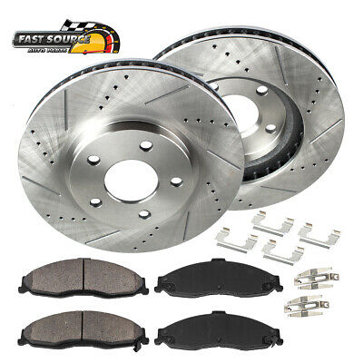 FRONT Drill Slot BRAKE ROTORS /& CERAMIC Pads For Lesabre Impala Deville Aurora