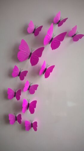 Plastic Multicolors Wall Stickers Creative Butterfly Stereo 12pcs Decoration