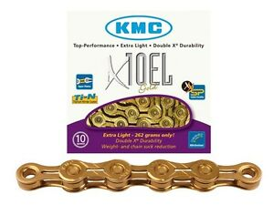 KMC-X10-EL-Bike-Chain-Extra-Light-10-Speed-Cycle-Chain-KMCX10-EL-TI-Gold-Shimano