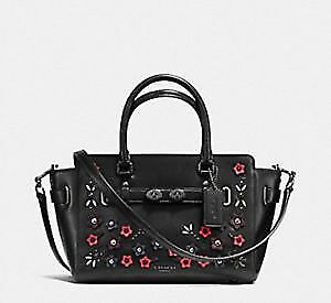 Paypal-Coach-Bag-F59450-Blake-Carryall-with-Floral-Applique-Black-Agsbeagle