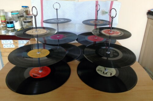 Cup Cake stand PARTY PACK of 4 with FREE UK P/&P vinyl records
