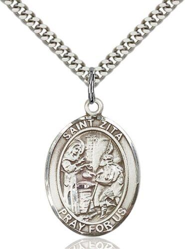 environ 2.54 cm 1 in Sterling Silver catholique Saint Zita médaille