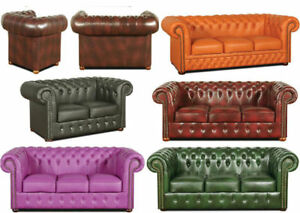 chesterfield sofa ledersofa couch garnitur polster designersofa leder samt neu ebay. Black Bedroom Furniture Sets. Home Design Ideas