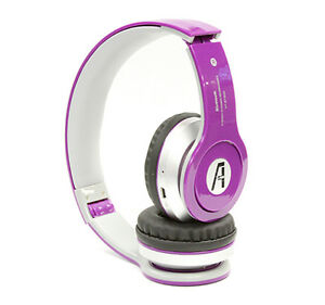 iphone 6 6s wireless bluetooth stereo headset with mic and fm radio purple ebay. Black Bedroom Furniture Sets. Home Design Ideas