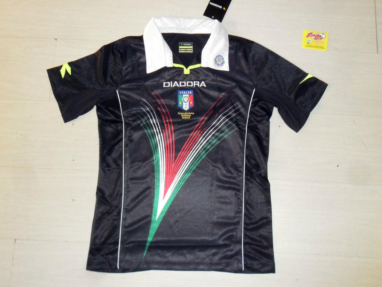 10022 TG M MAGLIA MAGLIETTA NERA ARBITRO AIA ITALY REFREE OFFICIAL JERSEY SHIRT