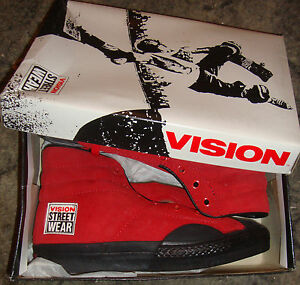 VISION-STREET-WEAR-Suede-039-80s-Skateboard-Shoes-Red-Hi-Tops-Size-2-UK-3-USA